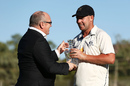 Jon Holland receives the Player-of-the-Match award, Victoria v South Australia, Sheffield Shield final, Alice Springs, 5th day, March 30, 2017
