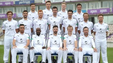 The Hampshire squad, including Kolpak signings Kyle Abbott and Rilee Rossouw, pose on media day