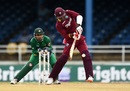 Marlon Samuels whips the ball to the leg side, West Indies v Pakistan, 2nd T20, Port of Spain, March 30, 2017