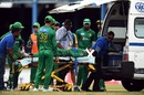 Ahmed Shehzad was stretchered off the field after a collision with Chadwick Walton , West Indies v Pakistan, 2nd T20, Port of Spain, March 30, 2017