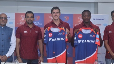 Kagiso Rabada, Pat Cummins and Zaheer Khan pose for the cameras