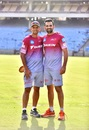 Rahul Dravid and Zaheer Khan at a Delhi Daredevils training session, Delhi, April 1, 2017