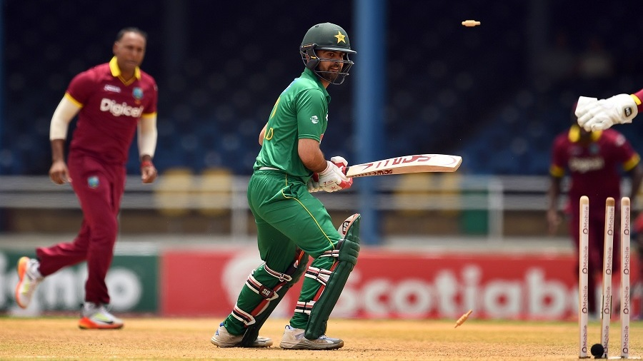 Ahmed Shehzad is bowled by Samuel Badree