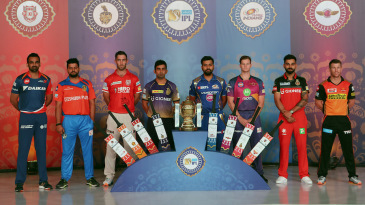 The IPL captains at an event in Hyderabad on the eve of the 2017 season opener