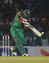 Soumya Sarkar shapes to hammer one away, Sri Lanka v Bangladesh, 1st T20I, Colombo, April 4, 2017