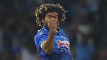 Lasith Malinga pumps his fist after bowling Tamim Iqbal