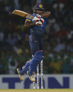 Kusal Perera is air borne to tackle a short ball, Sri Lanka v Bangladesh, 1st T20I, Colombo, April 4, 2017