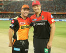 David Warner and Shane Watson all smiles before the toss, Sunrisers Hyderabad v Royal Challengers Bangalore, IPL, Hyderabad, April 5, 2017