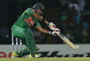 Soumya Sarkar shapes to lift one over the infield, Sri Lanka v Bangladesh, 2nd T20I, Colombo, April 6, 2017
