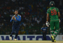 Asela Gunaratne holds on to a catch off his own bowling to remove Soumya Sarkar, Sri Lanka v Bangladesh, 2nd T20I, Colombo, April 6, 2017