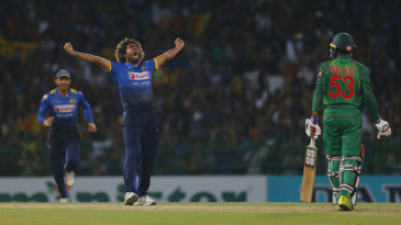 Lasith Malinga celebrates after completing his hat-trick