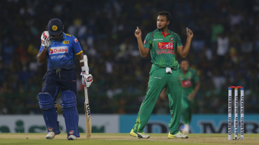 Shakib Al Hasan celebrates after picking up a wicket