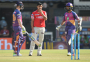 Mohit Sharma looks on as Steven Smith and Ajinkya Rahane bat in the middle, Kings XI Punjab v Rising Pune Supergiant, IPL 2017, Indore, April 8, 2017
