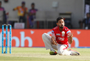 Swapnil Singh fumbled before holding on to a return catch to dismiss MS Dhoni, Kings XI Punjab v Rising Pune Supergiant, IPL 2017, Indore, April 8, 2017
