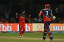 Iqbal Abdulla celebrates his second wicket of the match, Royal Challengers Bangalore v Delhi Daredevils, IPL 2017, Bengaluru, April 8, 2017