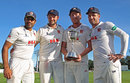 Ravi Bopara, Nick Browne, Tom Westley and captain Ryan ten Doeschate celebrate winning the Division Two title, Kent v Essex, County Championship, Division Two, Canterbury, September 23, 2016