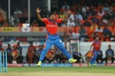 (Not) on his feet: Shivil Kaushik reacts to a mis-hit, Sunrisers Hyderabad v Gujarat Lions, IPL, Hyderabad, April 9, 2017