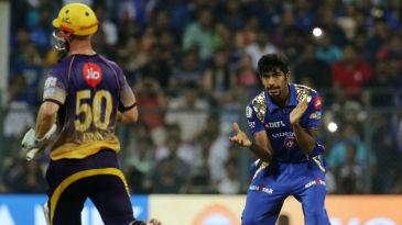 Jasprit Bumrah gives Chris Lynn a send-off