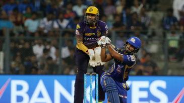 Nitish Rana heaves one over the leg side