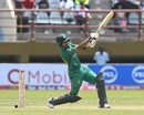 Babar Azam launches the ball for a six, West Indies v Pakistan, 2nd ODI, Providence, April 9, 2017