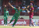 Hasan Ali was sure had had trapped Kieran Powell lbw and the DRS proved him right, West Indies v Pakistan, 2nd ODI, Providence, April 9, 2017