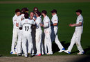 Gareth Batty and the Surrey team celebrate another wicket, Surrey v Warwickshire, Specsavers County Championship, 3rd day, The Kia Oval, April 9, 2017
