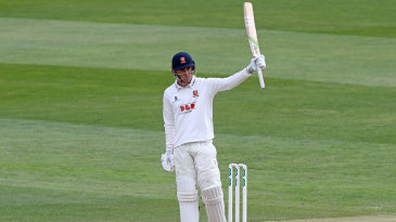 Dan Lawrence acknowledges his century