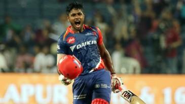Sanju Samson celebrates his maiden T20 century
