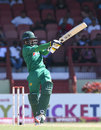 Mohammad Hafeez pulls during his half-century, West Indies v Pakistan, 3rd ODI, Providence, April 11, 2017