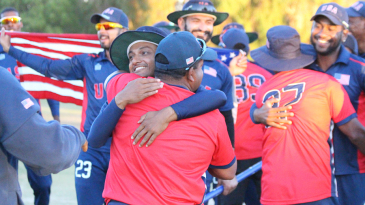 Timil Patel hugs coach Pubudu Dassanayake after USA win