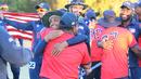 Timil Patel hugs coach Pubudu Dassanayake after USA win, USA v Oman, ICC World Cricket League Division Four Final, Los Angeles, November 5, 2016