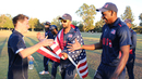 ICC Americas high performance manager Tom Evans goes to congratulate Elmore Hutchinson, USA v Oman, ICC World Cricket League Division Four Final, Los Angeles, November 5, 2016