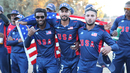 Akeem Dodson, Ali Khan and Fahad Babar celebrate during the medal ceremony, USA v Oman, ICC World Cricket League Division Four Final, Los Angeles, November 5, 2016