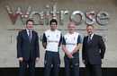 Alastair Cook, Peter Moores and Paul Downton pose with Rupert Ellwood of Waitrose during the official sponsorship launch, London, May 1, 2014