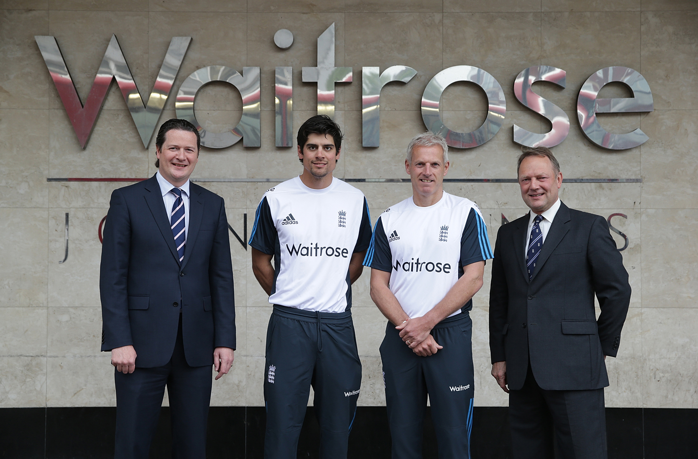 Alastair Cook, Peter Moores and Paul Downton pose with Rupert Ellwood of Waitrose during the official sponsorship launch