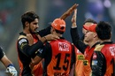 Deepak Hooda is congratulated by his team-mates after removing Parthiv Patel, Mumbai Indians v Sunrisers Hyderabad, IPL 2017, Mumbai, April 12, 2017