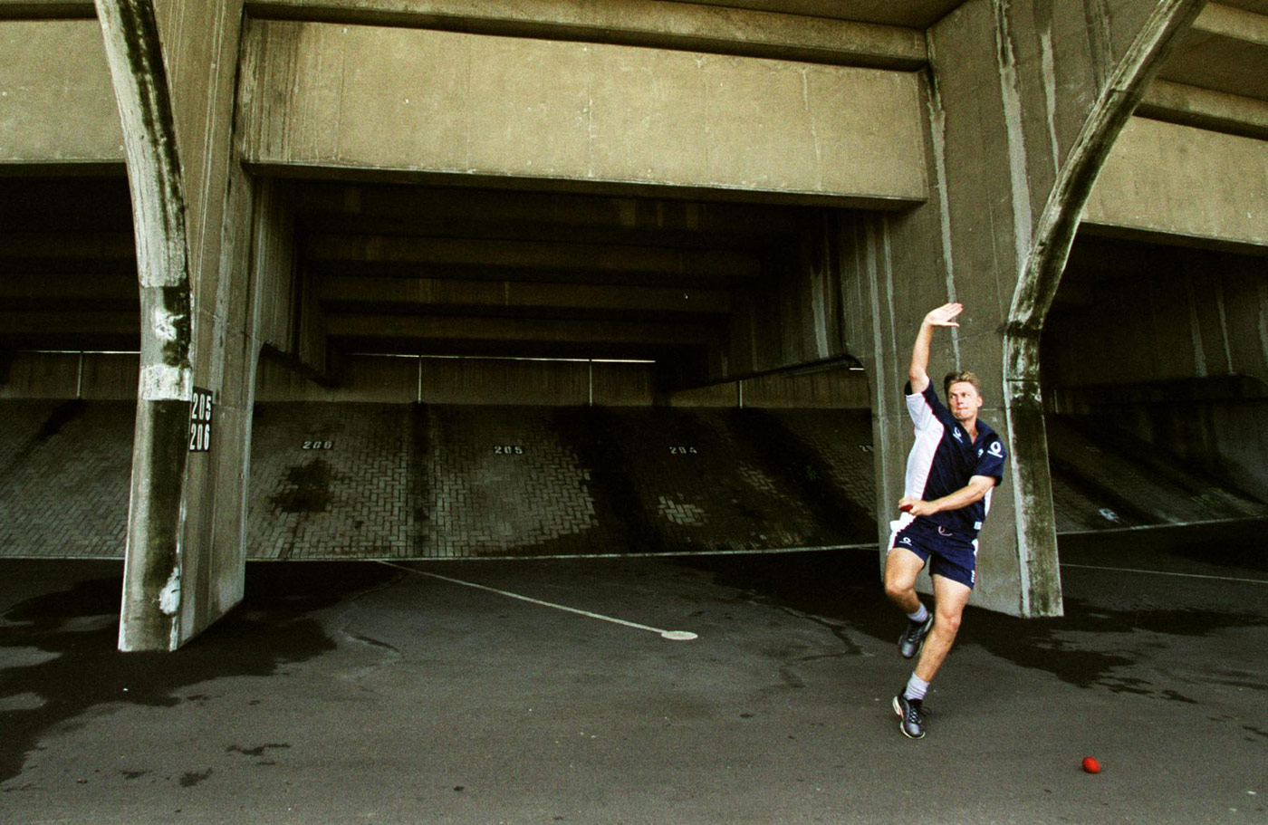 Mullally is put through his paces in the Kingsmead car park (rain had made the ground unusable) ahead of the third Test in 1999. He didn't make the cut
