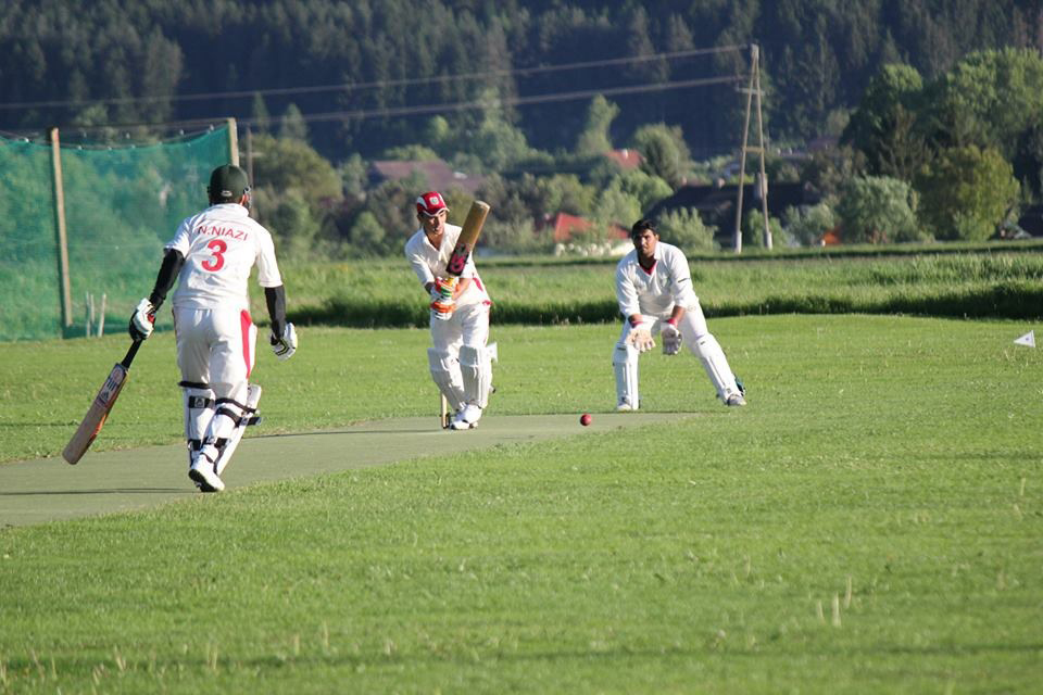 Atef Sohail bats (Najeen Naizay is the non-striker) against PCC in the Velden CG T20