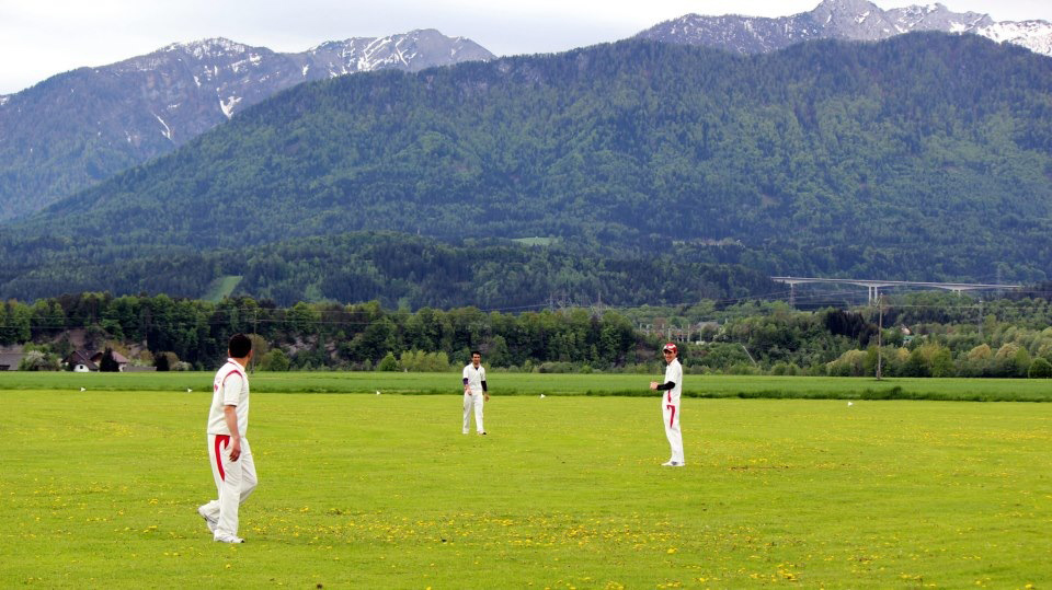 Anwar Halimi, Najeeb Naizay and Atef Sohil at the Velden Cricket Club's ground, about 65 miles south-west of Graz
