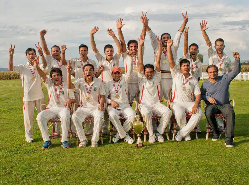 ASCC celebrate their win in the Austrian Cricket Association's T20 league final in 2014