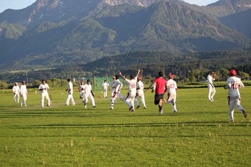 The ASCC team celebrate their win over rival club PCC at the Velden CG T20 in 2014