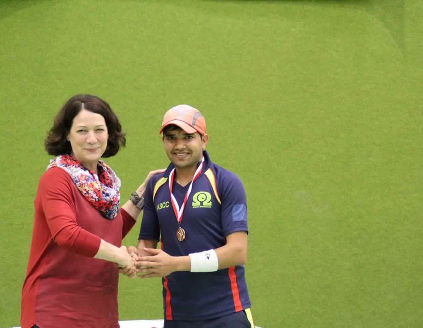 Pamir Zarawar Khan after ASCC's win in the Masala Cup indoor tournament in Graz, 2014