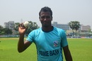 Rubel Hossain poses with the match ball after claiming his third sixth-wicket haul in List A cricket, Dhaka Premier League, Savar