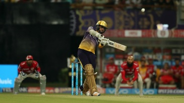 Sunil Narine slaps the ball over long-off for a six