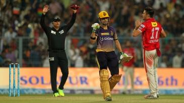 Gautam Gambhir pumps his fist after Manish Pandey struck the winning runs