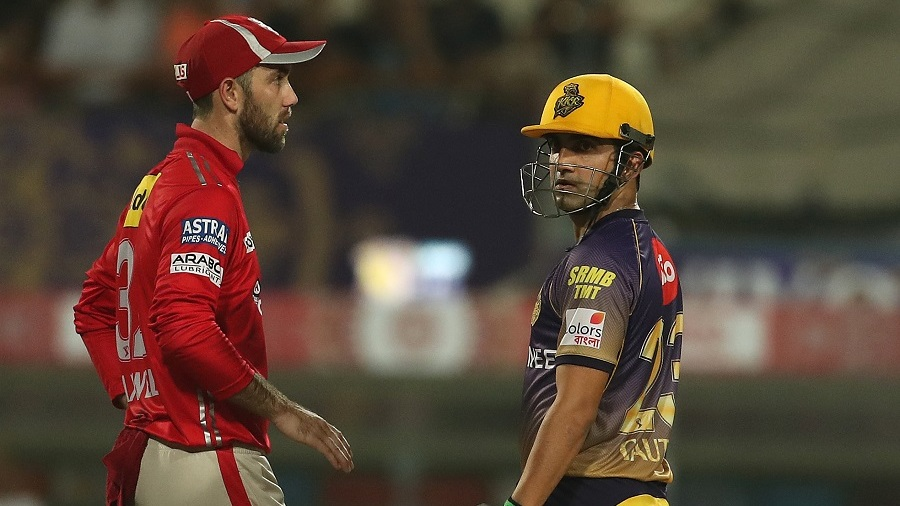 The captains Glenn Maxwell and Gautam Gambhir share a moment after the game