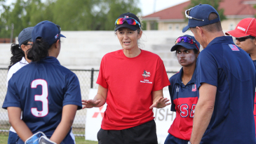 Charlotte Edwards talks to the USA Women's squad during a training camp in Texas