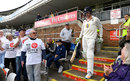 Keaton Jennings walks out to bat in the first game of the season at the Riverside, Durham v Nottinghamshire, County Championship, Division Two, Chester-le-Street, 1st day, April 14, 2017