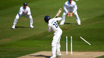 Daniel Bell-Drummond lost his middle stump attempting to leave