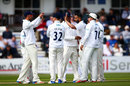 Ajmal Shahzad is congratulated on a wicket, Sussex v Kent, County Championship, Division Two, Hove, 1st day, April 14, 2017